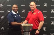 (Gary Waterman of the AUS champion StFX X-Men and Wayne Harris Jr. of the Vanier Cup finalist Calgary Dinos.)