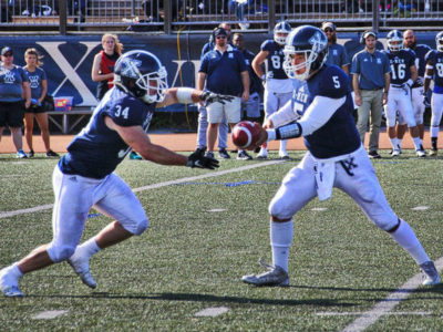 Waterford's Jordan Socholotiuk (left) of St. FX was named Atlantic University Sport offensive player of the week after posting 196 rushing yards vs. Acadia. Photo courtesy Nic Latulippe