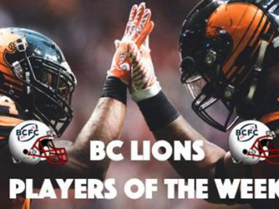 Jeremiah Johnson (24) and Rolly Lumbala (46) of the BC Lions during the game against the Winnipeg Blue Bombers at BC Place Stadium in Vancouver, BC., on Friday, July 21, 2017. (Photo: Johany Jutras)